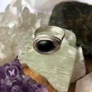 Black Jasper Silver Wire Wrapped Nest Ring